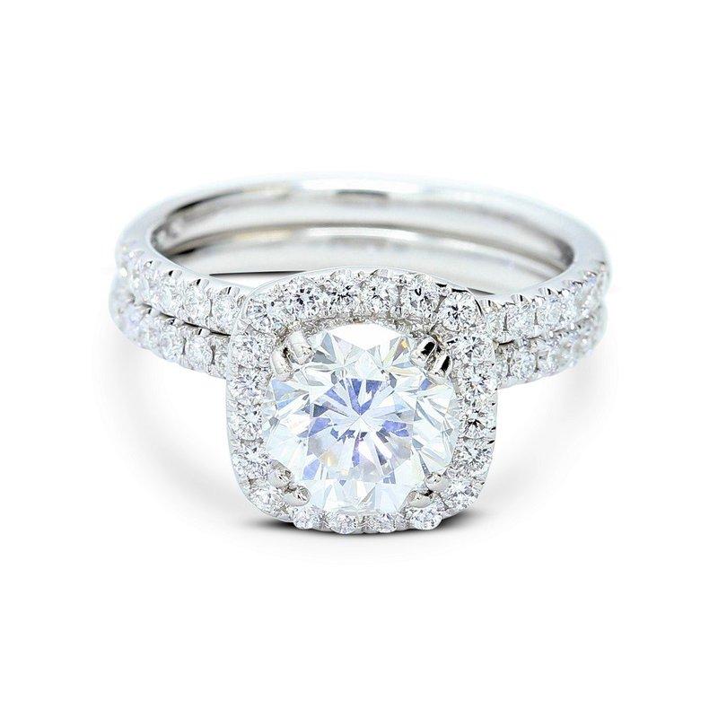 London Gold Designs Round Halo Diamond Bridal Set 18KW