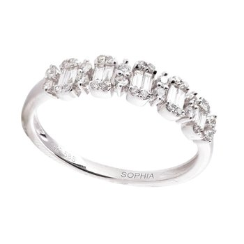 Baguette & Round Diamond Ring 14KW