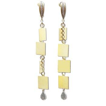Multi Square Dangle Earrings 14KY