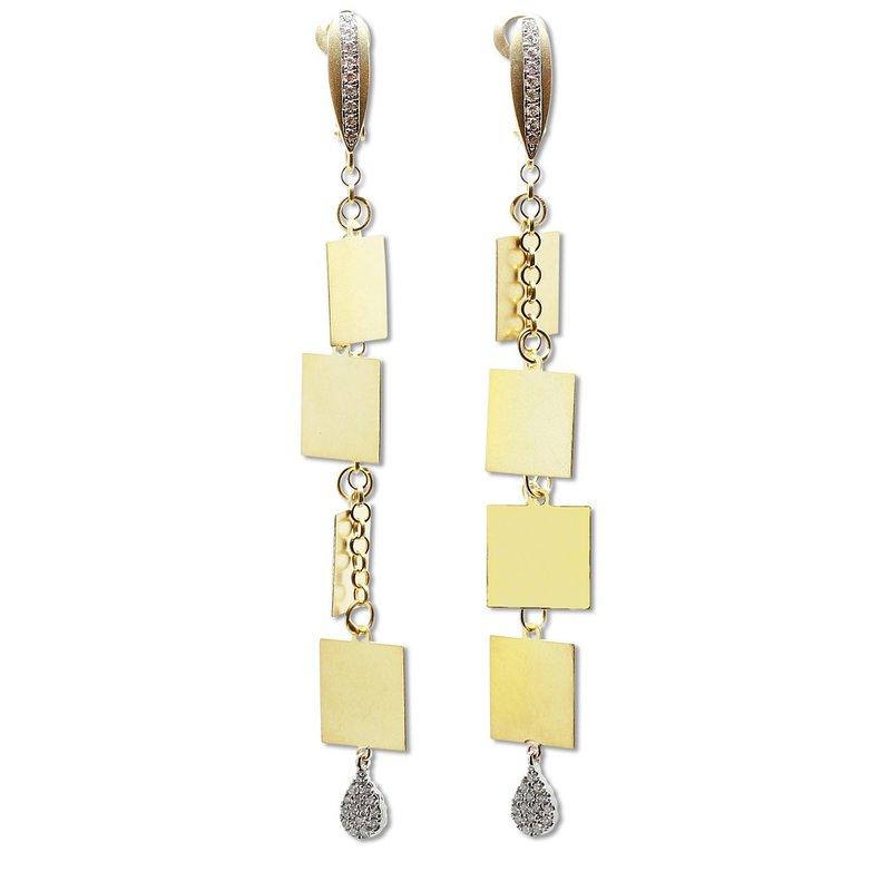 Meira T Multi Square Dangle Earrings 14KY