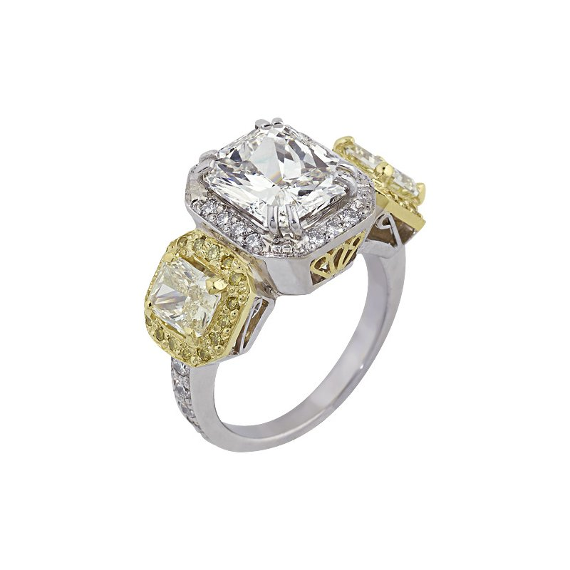 London Gold Designs Three Stone Halo Engagement Ring 18K