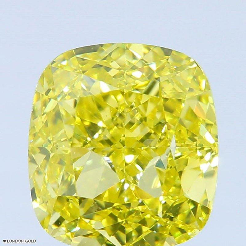 Colored Diamonds 2.01 Cushion Color Treated Fancy Vivid Yellow VS1