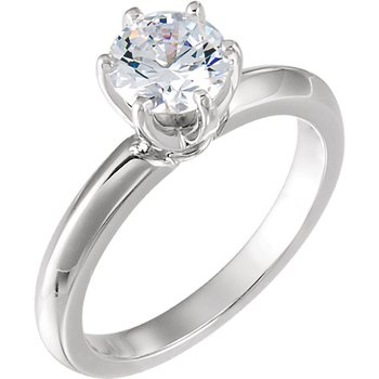 14K White 6-Prong Solitaire Setting Only