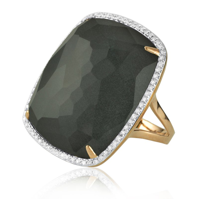 Sophia by Design Halo Hematite Crystal Ring