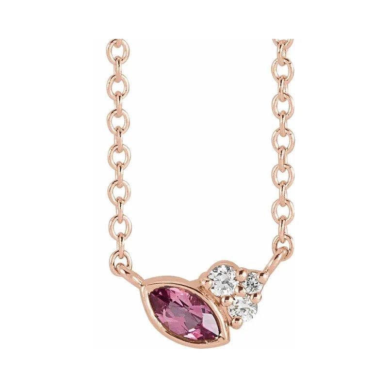 Gallery Designs Pink Tourmaline Necklace 14KR