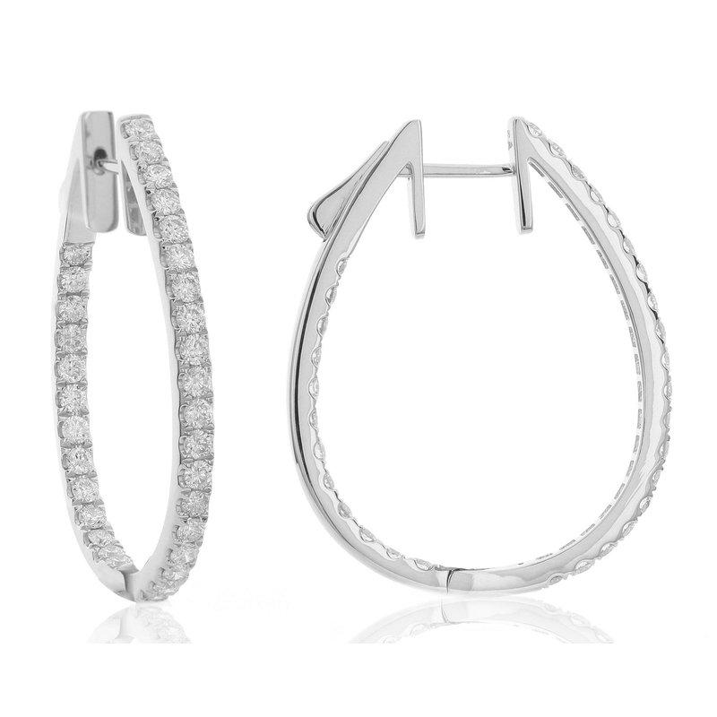 London Gold Designs Diamond Inside-Out Hoops 18KW