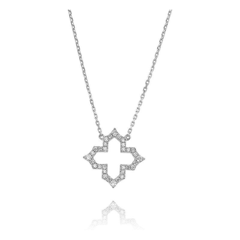 Yael Designs Quatrefoil Diamond Necklace 18KW