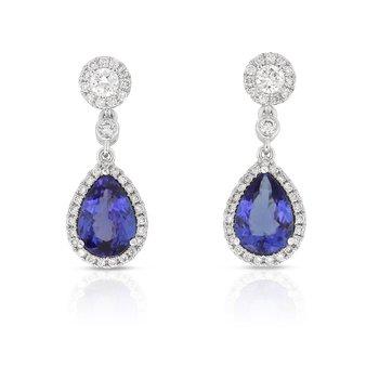 Tanzanite & Diamond Halo Dangles