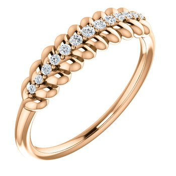 14k Rose Diamond Rope Ring