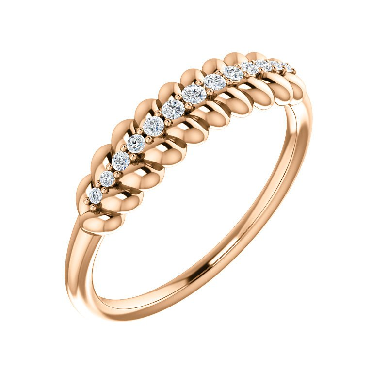 Gallery Designs 14k Rose Diamond Rope Ring