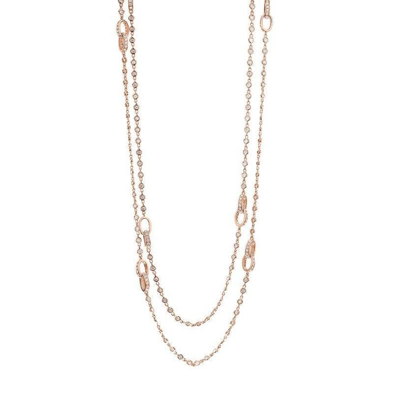 "London Gold Designs 32"" Diamond Station Necklace 18KR"