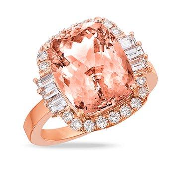 Rose Morganite Halo Ring 18KR