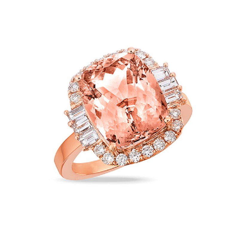 Doves Rose Morganite Halo Ring 18KR