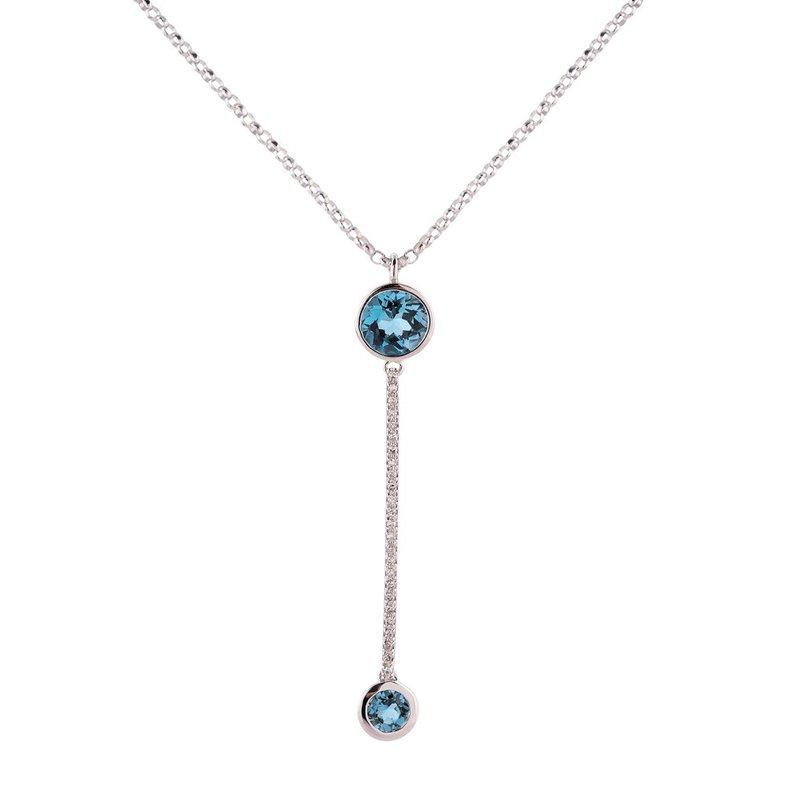 Sophia by Design Blue Topaz & Diamond Pendant 14KW