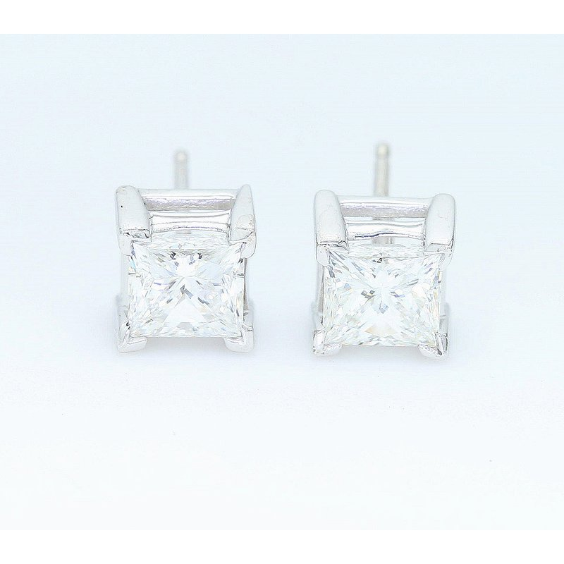 London Gold Designs 1.58 CTTW Princess Cut Diamond Studs