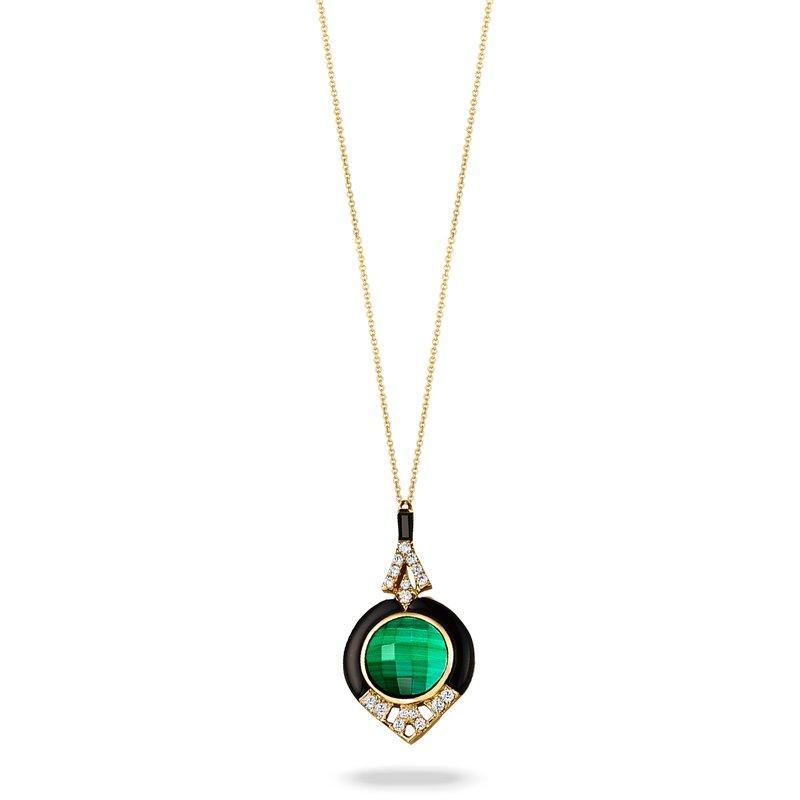 Doves Black Onyx & Malachite Necklace