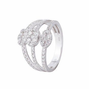 Three Row Open Diamond Ring