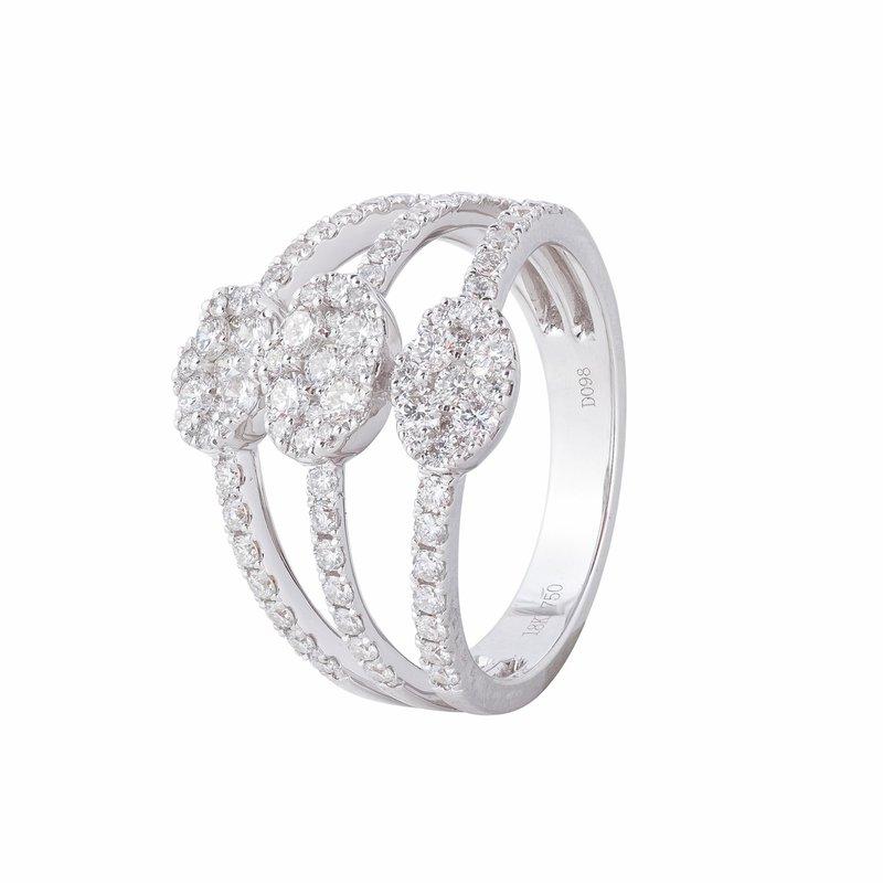 Sophia by Design Three Row Open Diamond Ring