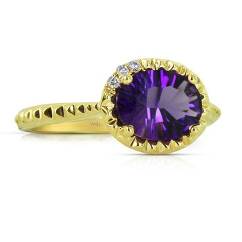 Amethyst & Diamond Ring 14KY