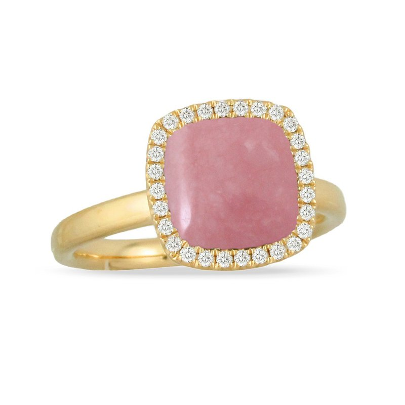 Doves Diamond & Pink Opal Halo Ring 18KY