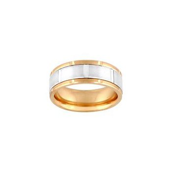 14K Yellow & White Gold Comfort Fit Engraved Wedding Band