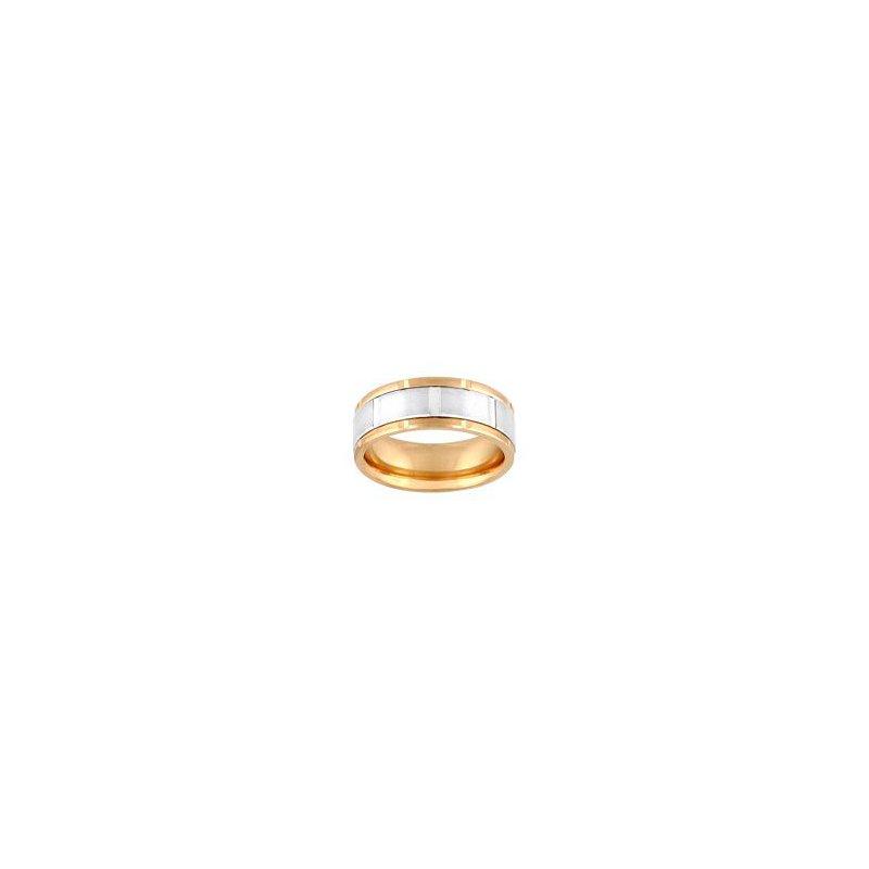 Frederick Goldman 14K Yellow & White Gold Comfort Fit Engraved Wedding Band