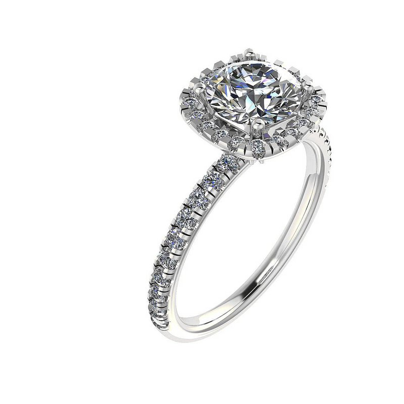Isadora Halo Engagement Ring 18KW Setting Only