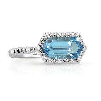 Blue Topaz & Diamond Ring 14KW