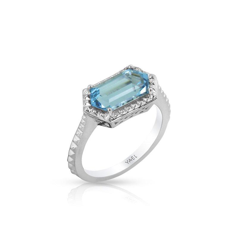 Yael Designs Blue Topaz & Diamond Ring 14KW