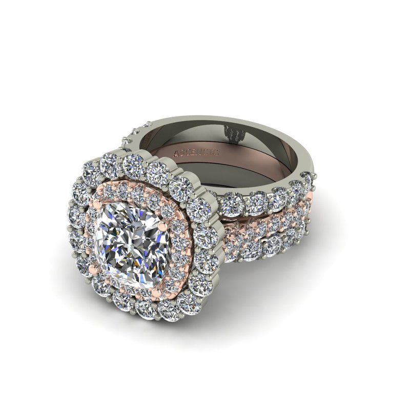 Ascencio Designs Double Halo Bridal Set
