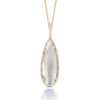 Diamond Halo & Mother of Pearl Pendant