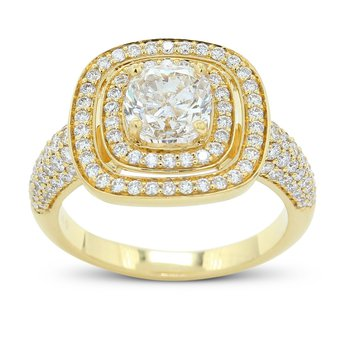 Double Cushion Halo Ring 18KY