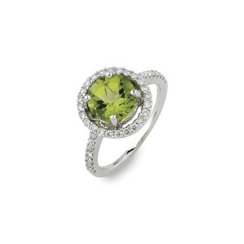Peridot Halo Ring 18KW