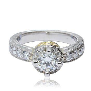 Engraved Engagement Ring Plat/18K