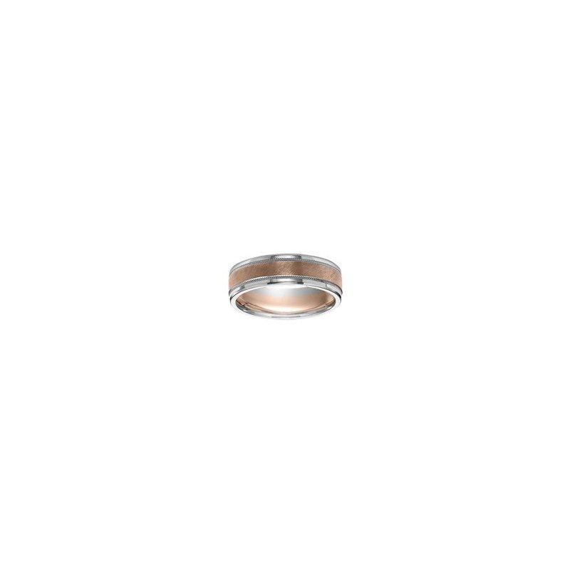 Frederick Goldman 14K Rose & White Fusion Engraved Wedding Band