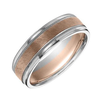 14K Rose & White Fusion Engraved Wedding Band