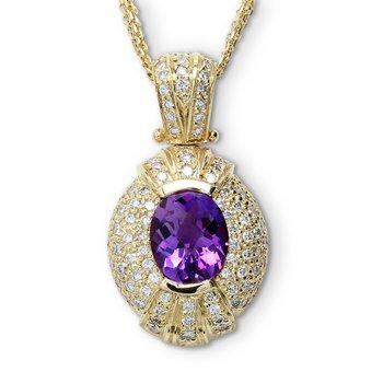 Oval Amethyst & Diamond Pendant 14KY