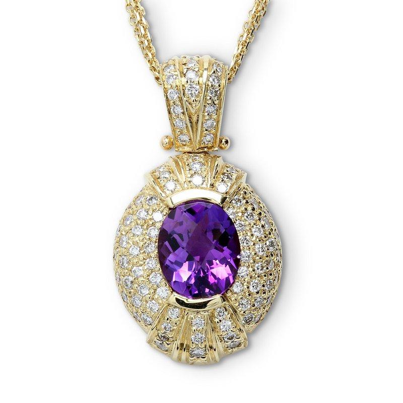 Estate Jewelry Oval Amethyst & Diamond Pendant 14KY