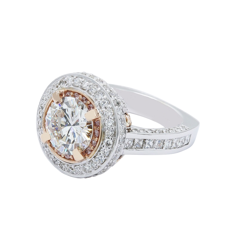 Lunaria Rose Gold Halo Engagement Ring