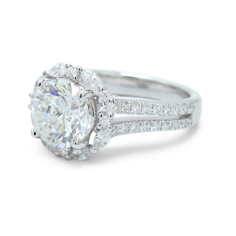 Isadora Round & Marquise Halo Ring - Setting Only