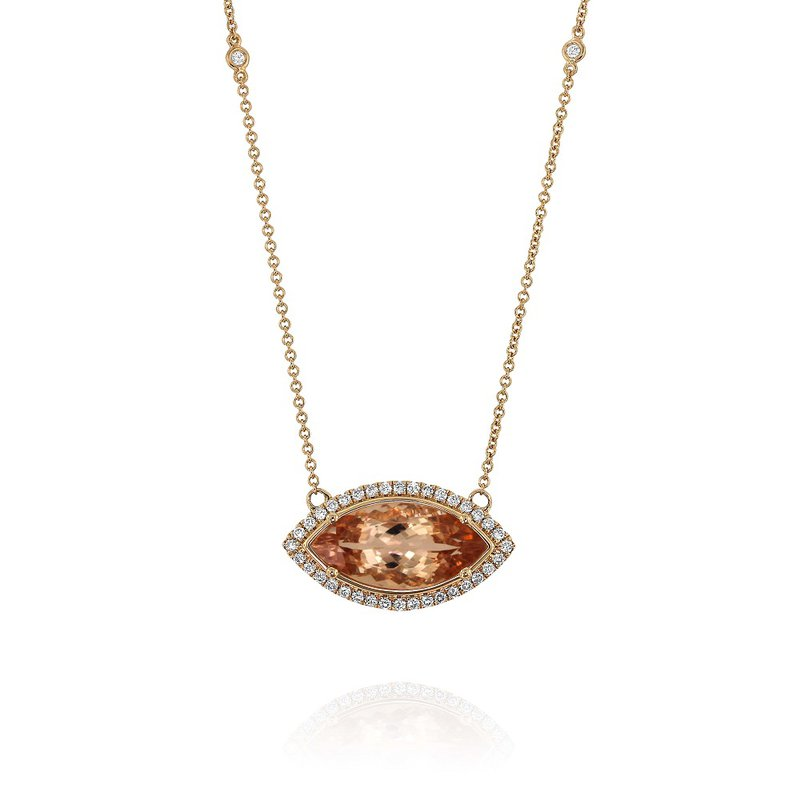Yael Designs Marquise Morganite Halo Necklace