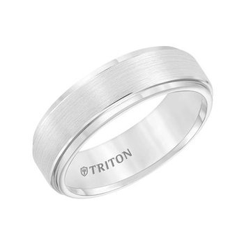 Triton - White Tungsten Wedding Band