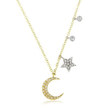Crescent Moon Necklace 14KY