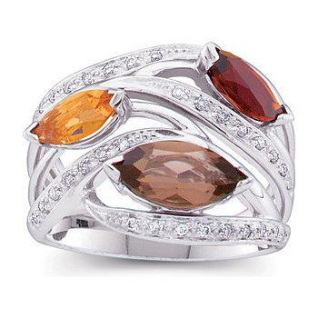 Colored Stone & Diamond Ring 14KW