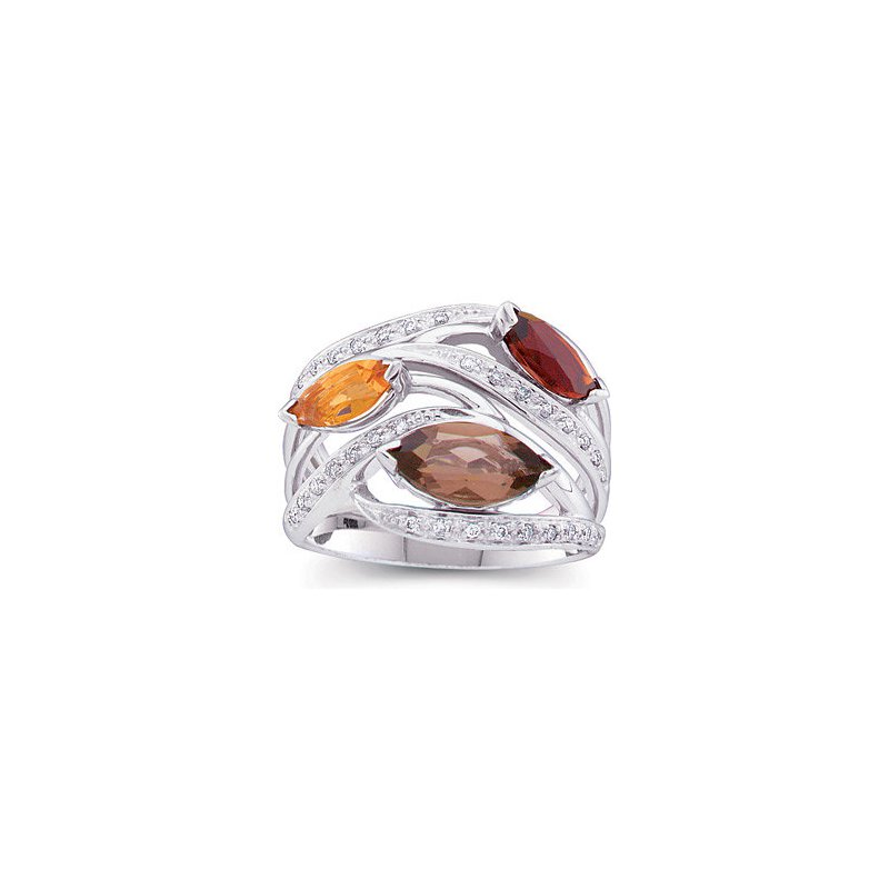Gallery Designs Colored Stone & Diamond Ring 14KW
