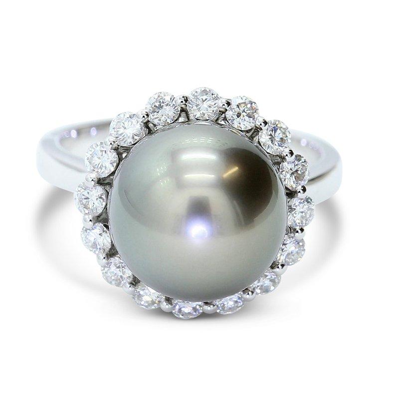 London Gold Designs Tahitian Pearl Ring 18KW