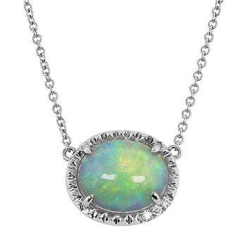 Oval Opal Necklace 14KW