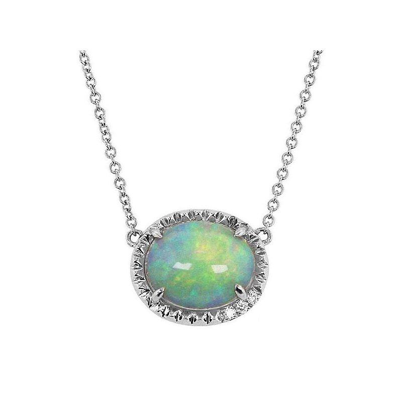 Yael Designs Oval Opal Necklace 14KW
