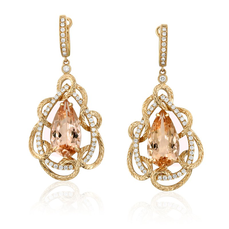 Yael Designs Bloom Morganite Earrings 18KR