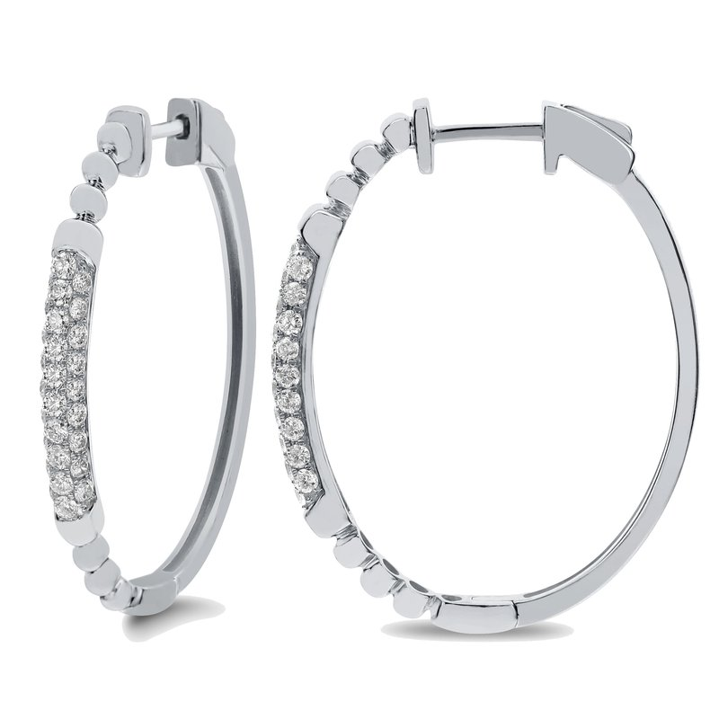 London Gold Designs Bead Accent Diamond Hoops 18KW